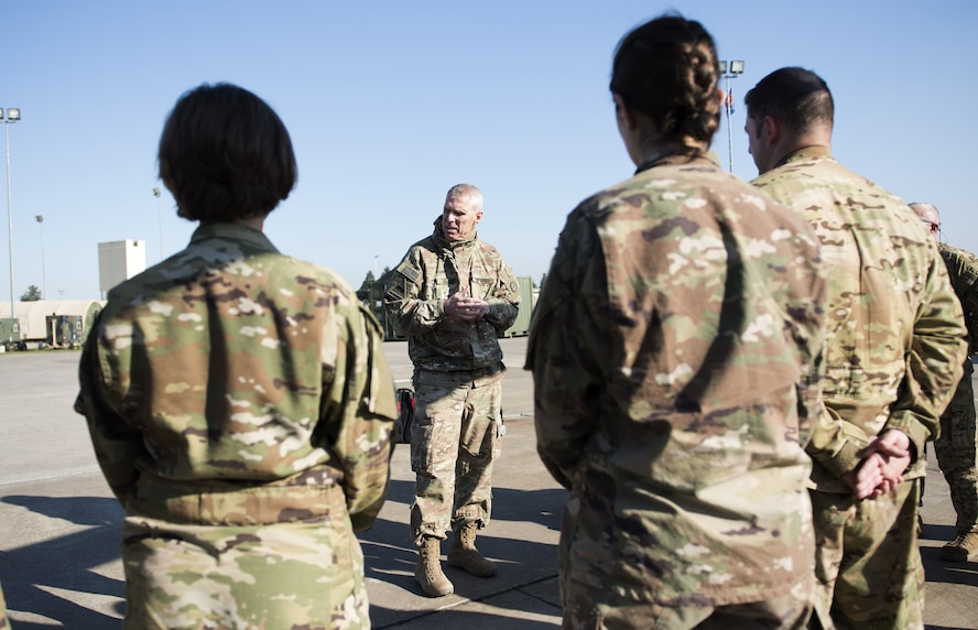 U.S. Army Maj. Gen. Victor J. Braden, 35th Infantry Division commanding general visits the Task Force Voodoo personnel at Incirlik Air Base, Turkey, Jan. 15, 2018.