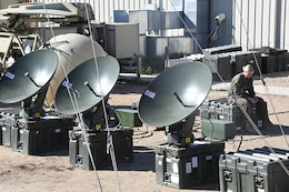 The medium terminals in the Very Small Aperture Terminal Family of Systems undergo interoperability evaluations at Marine Corps Tactical Systems Support Activity at Marine Corps Base Camp Pendleton, California. A Request for Information for a VSAT-medium replacement was released by Marine Corps Systems Command to industry in October 2017 to develop and deliver an updated, cost-effective, reliable solution.