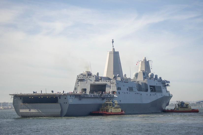 A transport dock ship leaves Naval Base San Diego.