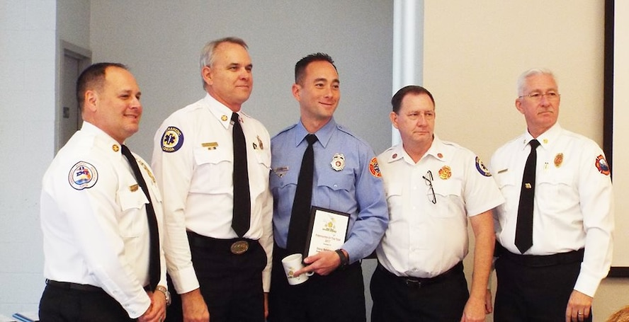 Citizen Airman Reservist Senior Airman Davey Brinkman, 920th Rescue Wing, Patrick Air Force Base, Florida, was selected as the 2017 Space Coast Fire Chief's Association's Firefighter of the Year.