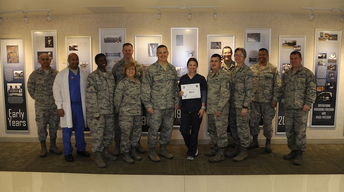 "Jamie Wells, 47th Medical Group pediatric nurse, was chosen by wing leadership to be the ""XLer"" of the week, for the week of Jan. 8, 2018. The ""XLer"" award, presented by Col. Thatcher Cardon, 47th Medical Group commander, is given to those who consistently make outstanding contributions to their unit and the Laughlin mission."