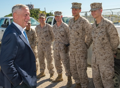 Secretary of Defense James Mattis speaks to Marines attached to U.S. Marine Corps Security Forces Company and Marines from 3rd  platoon, Bravo Co., Fleet Anti-terrorism Security Team, U.S. Marine Corps Security Forces Regiment,  in Naval Station Guantanamo Bay. Secretary Mattis was the first Secretary of Defense to visit to NSGB since 2002.  (U. S. Navy photo by Mass Communication Specialist 1st Class John Philip Wagner, Jr. /Released)