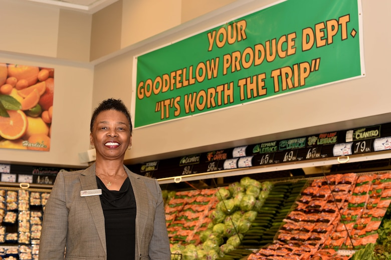 Goodfellow's new Commissary Officer, Edith Dowtin, stands in the produce section at the Commissary on Goodfellow Air Force Base, Texas, Jan. 10, 2018. Downtin's goals as the new Commissary Officer are to provide customers with healthy alternatives according to their dietary needs and assist with promoting the Commissary's brand products.