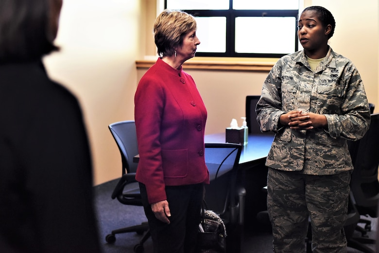 Laura Hyten speaks with Staff Sgt. Jasmine Sutton, 341st Missile Wing special victims counsel paralegal, at the Malmstrom Air Force Base resiliency center in Montana, Jan. 17, 2018. Mrs. Hyten is married to U.S. Air Force Gen. John Hyten (not pictured), commander of U.S. Strategic Command (USSTRATCOM). While there, Gen. and Mrs. Hyten met with base leaders and airmen to thank them for their support to USSTRATCOM's deterrence mission. She also toured facilities at the base, including the resiliency center, maintenance bay and community center. (U.S. Air Force photo by Kiersten McCutchan)