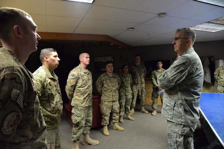 U.S. Air Force Gen. John Hyten, commander of U.S. Strategic Command (USSTRATCOM), speaks with airmen at a missile alert facility near Simms, Mont., Jan. 16, 2018.
