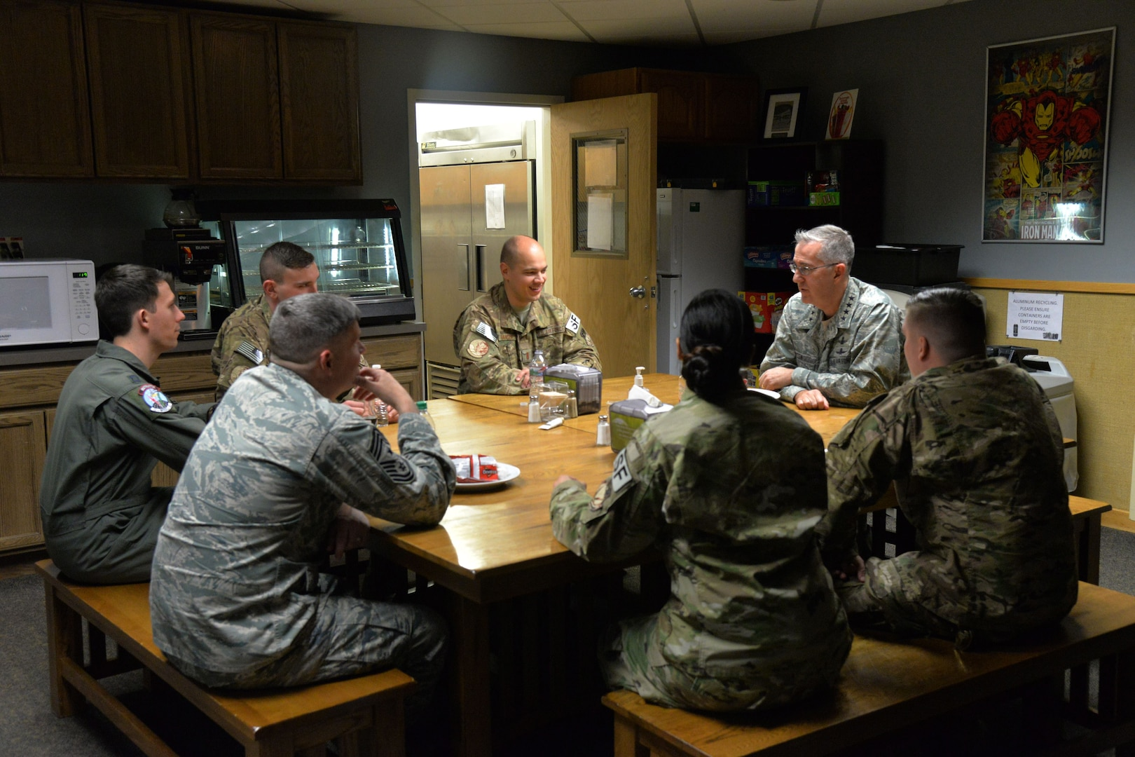 U.S. Air Force Gen. John Hyten, commander of U.S. Strategic Command (USSTRATCOM), and Chief Master Sgt. Patrick McMahon, senior enlisted leader of USSTRATCOM, speak with airmen at a missile alert facility near Simms, Mont., Jan. 16, 2018.