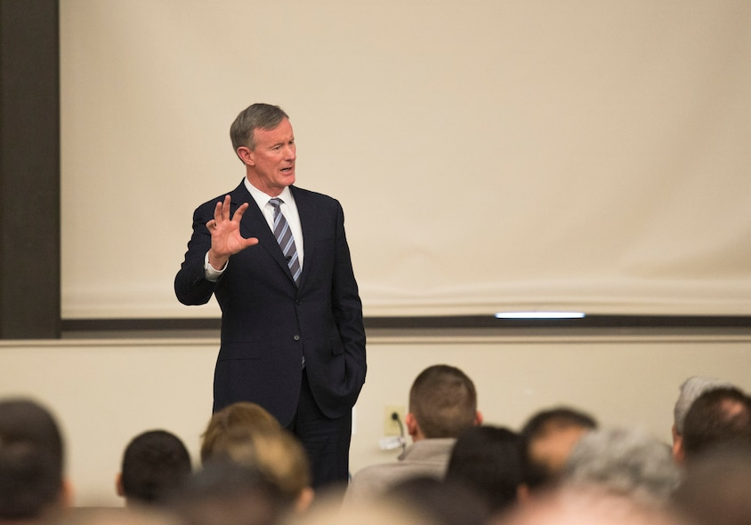 During a Profiles in Leadership seminar, Retired U.S. Navy Adm. William H. McRaven speaks to service members inside the Pfingston Reception Center located on Joint Base San Antonio – Lackland, Texas, January 10, 2018. Addressing the Airman Heritage Museum and Enlisted Character Development Center's Profiles in Leadership lecture series, McRaven focused on character and how it applies to leadership. (U.S. Air Force photo by Tech. Sgt. Ave I. Young)