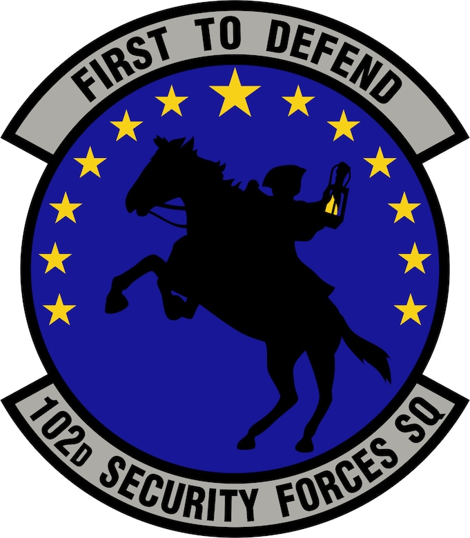 The official emblem of the 102nd Security Forces Squadron was inspired by early militias from the Plymouth Colony and American Revolution, representing the values of culture and tradition in the squadron's Airmen of today.