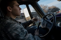 Airman 1st Class Evan Valance, 23d Logistics Readiness Squadron fuels distribution operator, drives an M-11 refueling truck to the flight line to conduct HH-60G Pave Hawk hot-pit refueling operations, Jan. 16, 2018 at Moody Air Force Base, Ga. Airmen who work in the petroleum, oils and lubricants (POL) flight frequently use hot pit refueling, which is a more efficient tactic that allows aircrews a quick transition from the flight line back to their current objective. (U.S. Air Force photo by Senior Airman Daniel Snider)