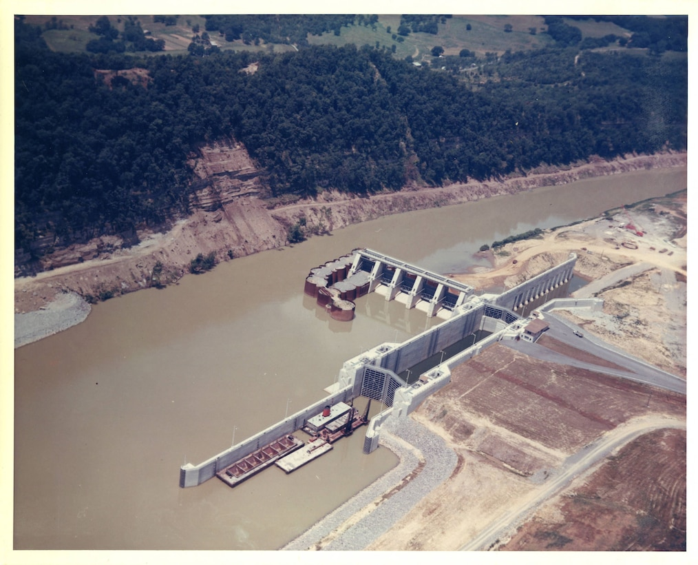 The U.S. Army Corps of Engineers Nashville District constructs Cordell Hull Lock and Dam on the Cumberland River in Carthage, Tenn., June 13, 1967. (USACE Photo)