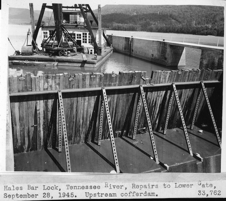 Maintenance and repairs are underway Sept. 28, 1945 at Hales Bar Lock on the Tennessee River in Jasper, Tenn. The U.S. Army Corps of Engineers Nashville District operated Hales Bar Lock until the dam was removed and replaced by Nickajack Dam in 1967. (USACE Photo)