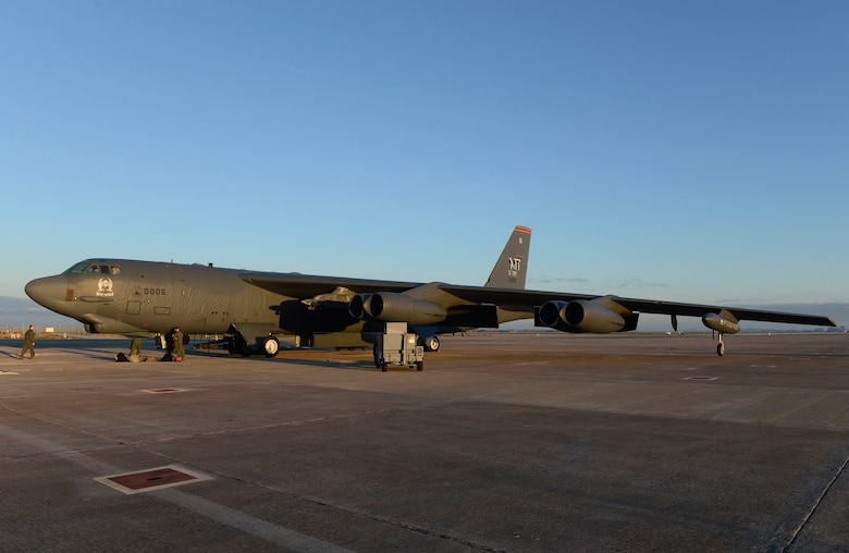 A B-52 Stratofortress from the 5th Bomb Wing, Minot Air Force Base, N.D., sits on the flightline of Morón Air Base, Spain, Jan. 17, 2018. A total of four strategic bombers deployed to RAF Fairford, England, to conduct theater integration and training with joint partners, allied nations and other U.S. Air Force units. (U.S. Air Force photo by Senior Airman Natalie Plas)