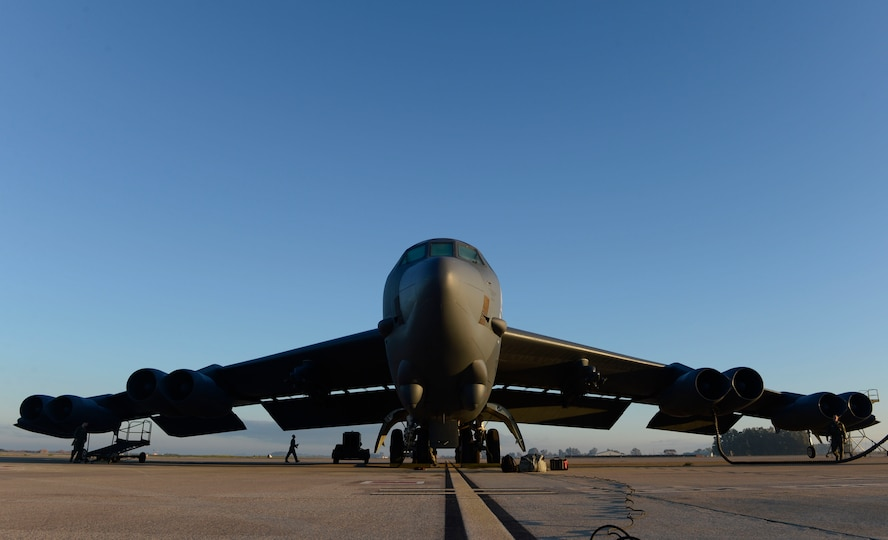 A B-52 Stratofortress sits on the flightline of Morón Air Base, Spain, Jan. 17, 2018. Through U.S. and Spanish cooperation, Morón Air Base has a long history of supporting bomber operations and serving the strategic deterrence requirements of U.S. and NATO allies for decades. (U.S. Air Force photo by Senior Airman Natalie Plas)
