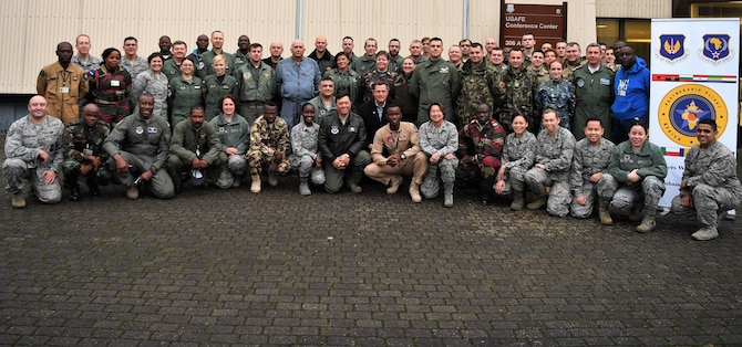 More than 50 representatives from 13 countries attended the first-ever U.S. Air Forces in Europe-Air Forces Africa Partnership Flight Symposium at Ramstein Air Base, Jan. 16, 2018. The symposium was created as a forum to share best practices and enhance cooperation between allied and partner nations. (U.S. Air Force photo by Tech. Sgt. Rachelle Coleman)