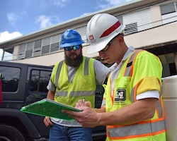 Chief of Safety Greg DiPuppo (right) deployed to Puerto Rico as part of the ongoing power restoration mission. DiPuppo and the task force safety team conducted an island-wide Traffic Control Zone Intervention to reduce the risk of traffic mishaps for electrical grid restoration teams working to restore power in Puerto Rico.