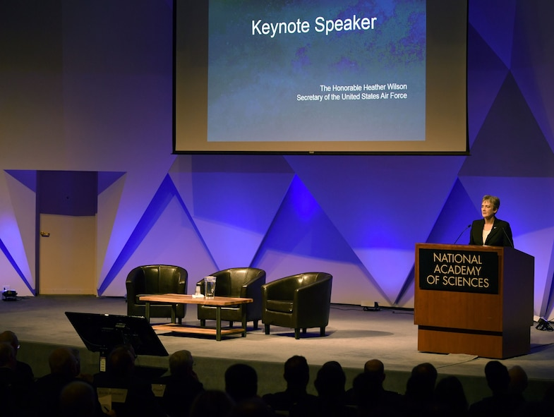 Secretary of the Air Force Heather Wilson speaks to the audience at the National Academy of Sciences, Washington, D.C., Jan. 18, 2018.  Wilson highlighted the importance of working with universities and private industry to advance tomorrow's Air Force. (U.S. Air Force photo by Wayne A. Clark)