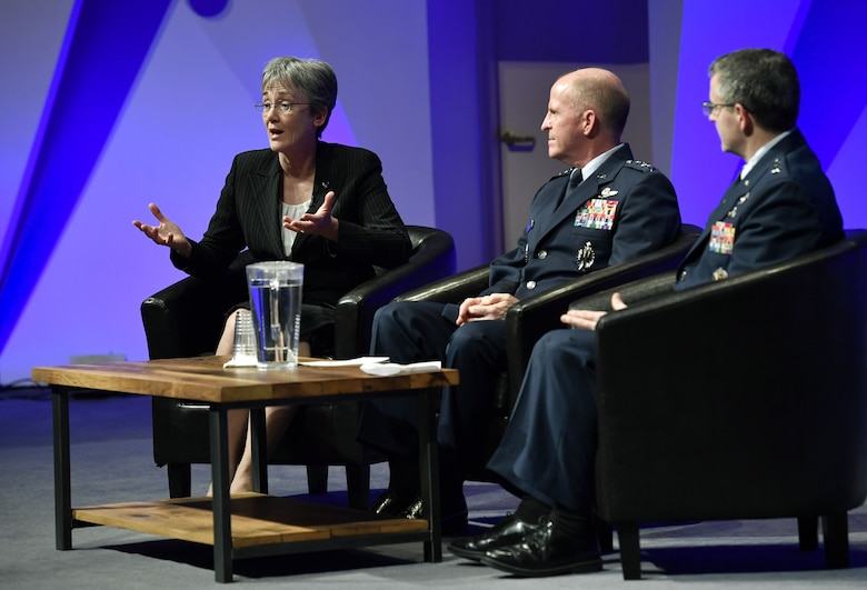 Secretary of the Air Force Heather Wilson takes questions while sharing the panel with Vice Chief of Staff of the Air Force Gen. Stephen Wilson and Air Force Research Laboratory commander Major Gen. William Cooley at the National Academy of Sciences, Washington, D.C., Jan. 18, 2018. Wilson highlighted the importance of working with universities and private industry to advance tomorrow's Air Force. (U.S. Air Force photo by Wayne A. Clark)