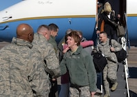 U.S. Air Force Gen. Lori Robinson (center), commander of U.S. Northern Command as well as North American Aerospace Defense Command, is greeted by leadership from both the 325th Fighter Wing and 1st Air Force during Robinson's arrival to Tyndall Air Force Base, Fla., Jan. 17, 2018. Robinson began her long 35 year career as a graduate of Tyndall's Air Battle Manager School. (U.S. Air Force photo by Airman 1st Class Isaiah J. Soliz/Released)