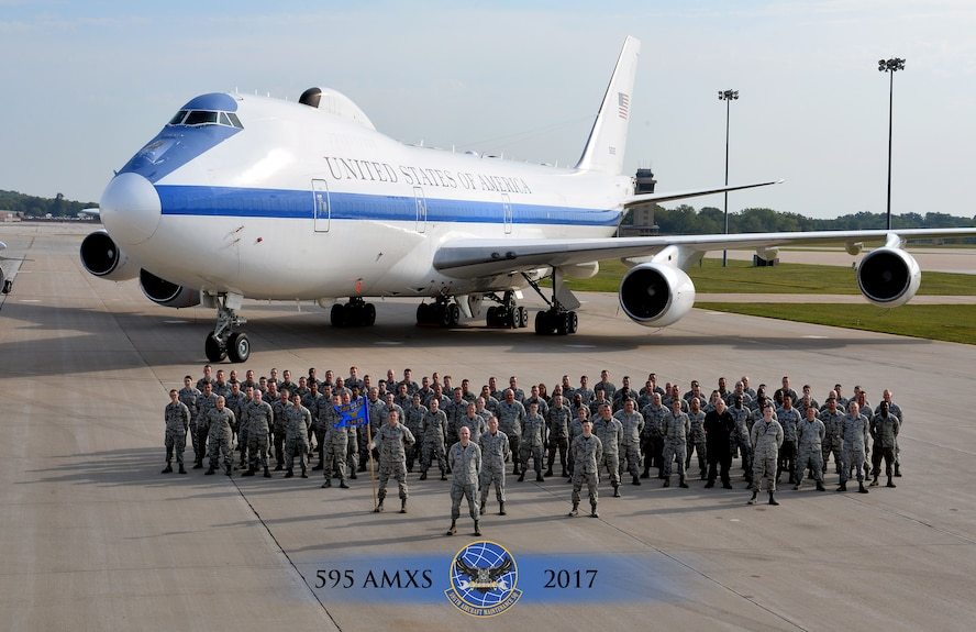 Members of the 595th Aircraft Maintenance Squadron (AMXS) stationed at Offutt Air Force Base, Nebraska, stand on the flightline in front of the E-4B Sept. 15, 2017. The 595th AMXS was awarded the Air Force Global Strike Command Unit Effectiveness Award Jan. 4, 2018, barely a year after the activation of the group.