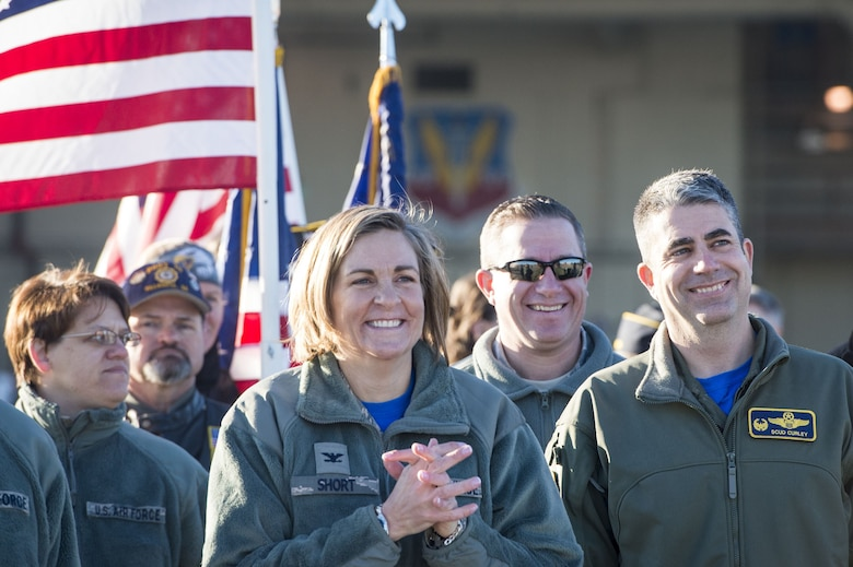 Moody leadership awaits the arrival of the 74th Expeditionary Fighter Squadron during a redeployment ceremony, Jan. 19, 2018, at Moody Air Force Base, Ga. Over 300 Airmen from Moody deployed for seven months in support of Operation Inherent Resolve to defeat ISIS in designated areas in Iraq and Syria.