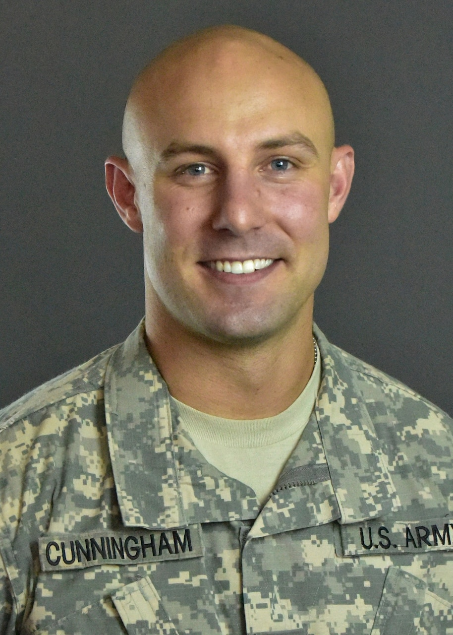 Portrait in uniform of soldier selected for Olympic team.