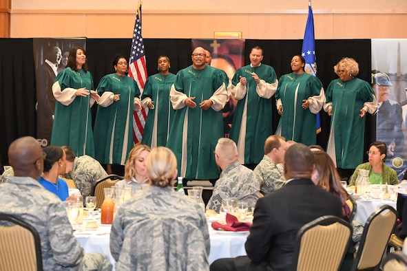The Hill Air Force Base Inspirational Gospel Choir performs at the Martin Luther King, Jr. Commemoration Luncheon held Jan. 17, 2018, at Hill AFB, Utah. (U.S. Air Force photo by Cynthia Griggs)