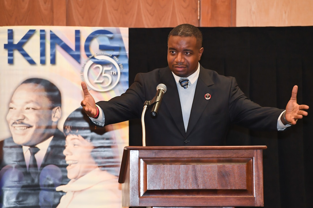 Dr. Wazir Suni Jefferson, Special Assistant to the Associate Vice President for Equity and Diversity at the University of Utah, speaks to attendees at the Martin Luther King, Jr. Commemoration Luncheon held Jan. 17, 2018, at Hill Air Force Base, Utah. (U.S. Air Force photo by Cynthia Griggs)