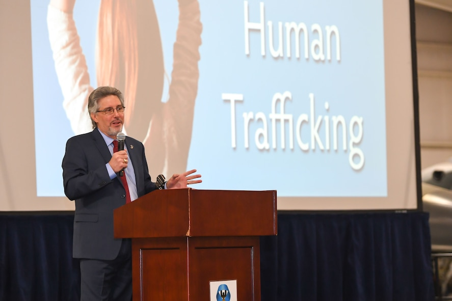 Jerome Elam, president and CEO of the Trafficking in America Task Force, speaks about his experience as a sex trafficking survivor to attendees of the Sexual Assault Prevention and Response office's 3rd Annual Combating Trafficking in Persons breakfast Jan. 16 at Hill Air Force Base, Utah. (U.S. Air Force photo by Cynthia Griggs)