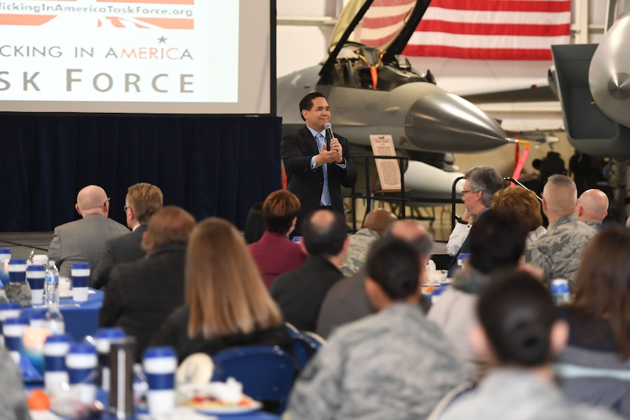 Utah Attorney General Sean D. Reyes speaks about his passion for eradicating human trafficking in Utah to attendees of the Sexual Assault Prevention and Response office's 3rd Annual Combating Trafficking in Persons breakfast Jan. 16 at Hill Air Force Base, Utah. (U.S. Air Force photo by Cynthia Griggs)