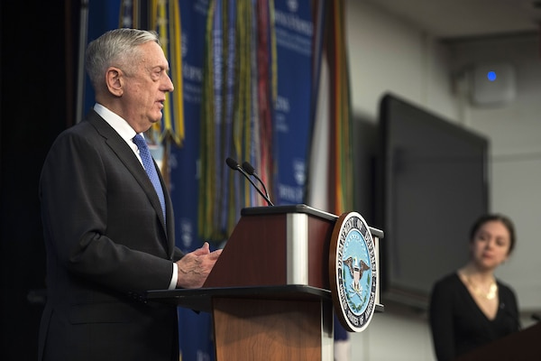 Defense Secretary James N. Mattis announces the National Defense Strategy at Johns Hopkins University School of Advanced International Studies in Washington, D.C., Jan. 19, 2018. DoD photo by Navy Petty Officer 1st Class Kathryn E. Holm