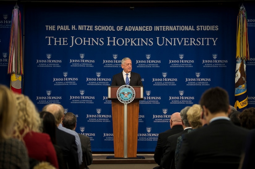 Defense Secretary James N. Mattis announces the new National Defense Strategy at the Paul H. Nitze School of Advanced International Studies, a division of the Johns Hopkins University based in Washington.