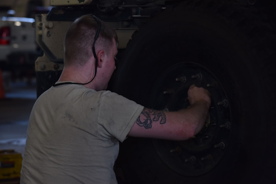 Members of the 509th Logistics Readiness Squadron (LRS) vehicle maintenance shop, perform various mechanical repairs throughout the shop at Whiteman Air Force Base, Mo., Jan. 17, 2018.
