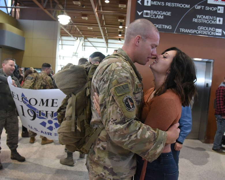 Staff Sgt. Erik Rustvang, of the 119th Security Forces Squadron, North Dakota Air National Guard, returns from deployment.