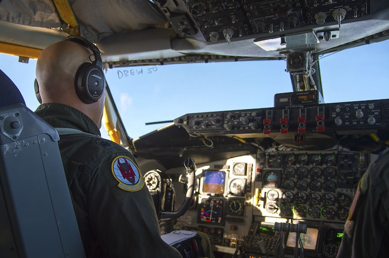 U.S. Air Force Lt. Col. Ricardo Lopez, the 50th Air Refueling Squadron (ARS) commander, pilots a KC-135 Stratotanker aircraft during the first 50th ARS training mission at MacDill Air Force Base, Fla., Jan. 16, 2018. With the call sign of DREW 50, the mission consisted of air refueling and tactical training.