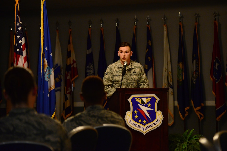 Senior Airman Kyle Beath, 14th Force Support Squadron Force Management journeyman, tells his story during Storytellers Jan. 11, 2018, at Columbus Air Force Base, Mississippi. Beath talked about how the loss of his grandfather affected his life. (U.S. Air Force photo by Airman 1st Class Beaux Hebert)