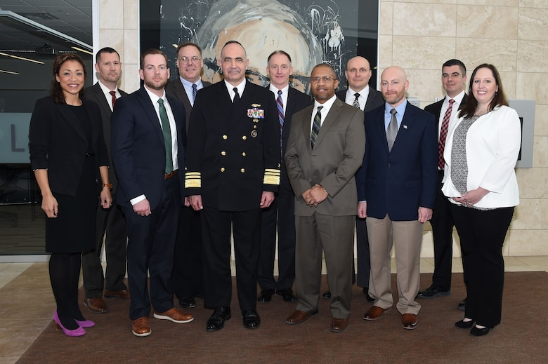 U.S. Navy Vice Adm. Charles Richard (center), deputy commander of U.S. Strategic Command (USSTRATCOM), attends the 2018 USSTRATCOM Strategic Leadership Fellows Program kickoff along with program participants at University of Nebraska at Omaha's Mammel Hall, Jan. 18, 2017