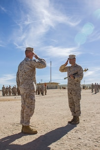 Sgt. Maj. Alfonso D. Via, former 3rd Marine Regiment Sgt. Maj., 3rd Marine Regiment, 3rd Marine Division,is relieved by Colonel Michael S. Stskal, Commanding Officer, 3rd Marine Regiment, 3rd Marine Division, during a post and relief ceremony at Camp Wilson aboard the Marine Corps Air Ground Combat Center, Twentynine Palms, Calif., Jan. 17, 2018. The post and relief ceremony took place during an integrated training exercise that 3rd Marine Division took part in. (U.S. Marine Corps photo by Pfc. Rachel K. Porter)