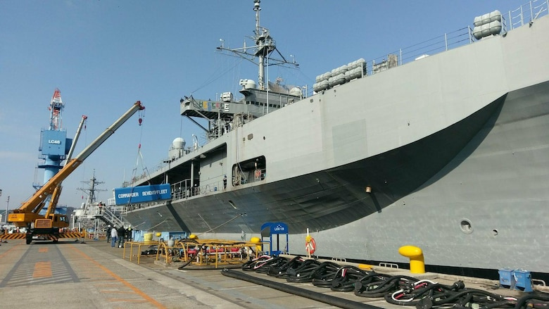 The brow is placed on U.S. 7th Fleet flagship USS Blue Ridge (LCC 19) following the ship's arrival to Commander, Fleet Activities Yokosuka after departing dry dock, successfully completing extended dry-dock selected restricted availability (EDSRA) maintenance period.