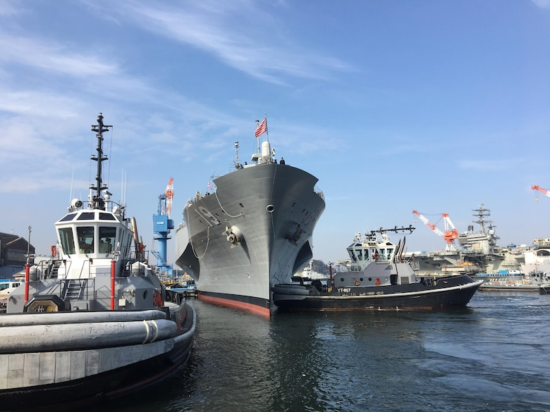 U.S. 7th Fleet flagship USS Blue Ridge (LCC 19) arrives to Commander, Fleet Activities Yokosuka after departing dry dock, successfully completing an extended dry-dock selected restricted availability (EDSRA) maintenance period.
