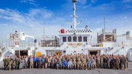 Senior delegates participating in Pacific Partnership 2018 gather for a group photo aboard USNS MERCY (T-AH-9) Jan. 18.  Pacific Partnership is the U. S. Navy's humanitarian and civic assistance mission conducted with and through partner nations, non-governmental organizations and other U.S. and international government agencies to execute a variety of humanitarian civic action missions in the Pacific Fleet area of responsibility. Pacific Partnership is designed to strengthen alliances, improve U.S. and partner capacity to deliver humanitarian assistance and disaster relief and improve security cooperation among partner nations.
