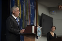 Secretary of Defense James N. Mattis announces the National Defense Strategy at Johns Hopkins University School of Advanced International Studies in Washington, Jan. 19. (DoD photo by Navy Mass Communication Specialist 1st Class Kathryn E. Holm)