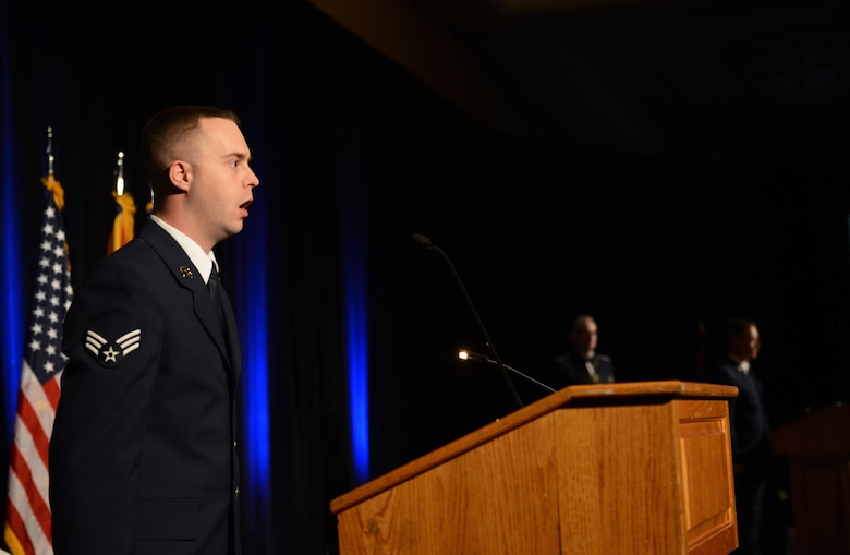 Senior Airman Timothy Orr, 944th Operations Group aviation resource manager, sings the national anthem during the 2017 Annual Awards Banquet at The Wigwam in Litchfield Park, Ariz., Jan. 20, 2018. The 2017 Annual Awards Banquet was held to recognize and award the best and brightest Airmen from Luke Air Force Base. (U.S. Air Force Photo/Airman 1st Class Alexander Cook)