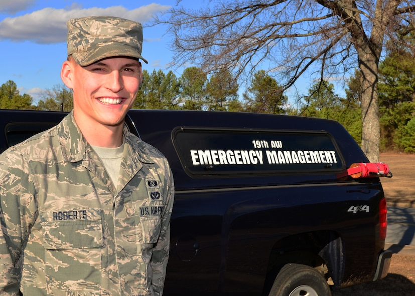 Airman Dustin H. Roberts, 19th Civil Engineer Squadron, emergency management technician, is nominated as the Combat Airlifter of the Week Jan. 16, 2018, at Little Rock Air Force Base, Ark. (U.S. Air Force photo by Airman 1st Class Codie Collins)