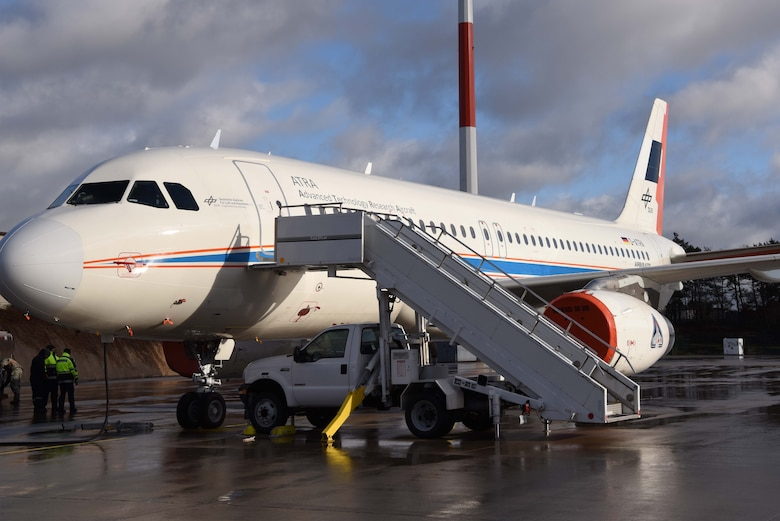Maintainers from The German Aerospace Center prepare the Advanced Technology Research Aircraft Airbus A320 (D-ATRA), on Ramstein Air Base, Germany for a day of bio-fuel testing. The A320 is the latest and largest addition to the DLR's research fleet.