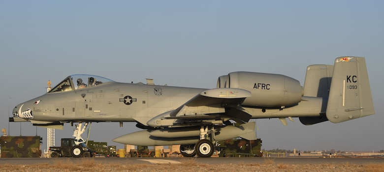 An A-10 Thunderbolt II, assigned to Whiteman Air Force Base, taxis down the flight line on Kandahar Airfield, Afghanistan, Jan. 19, 2018.