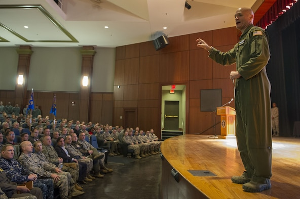 U.S. Air Force Gen. Carlton D. Everhart, commander of Air Mobility Command, Scott Air Force Base Ill., talks with Joint Base Charleston service members during an all call here Jan. 19. Everhart visited Mobility Airmen and joint partners from various units at Joint Base Charleston to gain valuable insight into their mission successes along with the challenges they may face while executing rapid global mobility.
