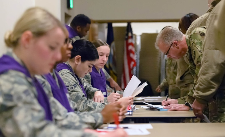 Lt. Col. Keith Gibson, 746th Expeditionary Airlift Squadron commander, verifies and completes his deployment organizational paperwork at the Roberts Consolidated Aircraft Maintenance Facility Jan. 5, 2018, on Keesler Air Force Base, Mississippi. Members of the 403rd Wing make preparations for an upcoming deployment to an undisclosed location. (U.S. Air Force photo by André Askew)