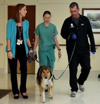 Dr. Kaitlin Pruskowski, Leah Trefz, U.S. Army Institute of Surgical Research Burn Center occupational therapist, and Staff Sgt. Christopher Guerrero take Sammy for a walk throughout Brooke Army Medical Center as part of his rehab program.