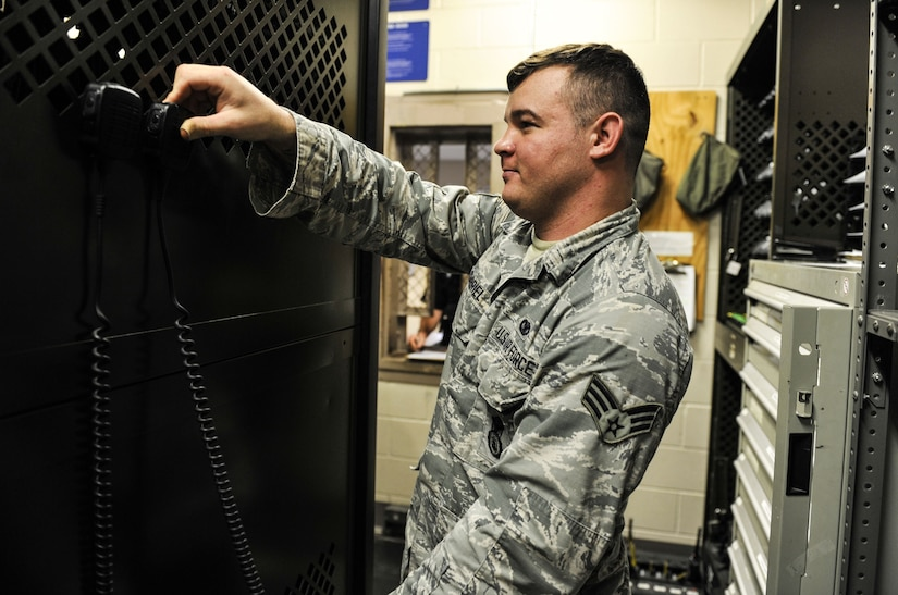 Senior Airman Adam Gabriel, 628th Security Forces Squadron armorer, returns equipment to the armory Jan. 12, 2018, at Joint Base Charleston, S.C.