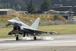 Germany's Eurofighter Typhoon lands at an undisclosed airfield.